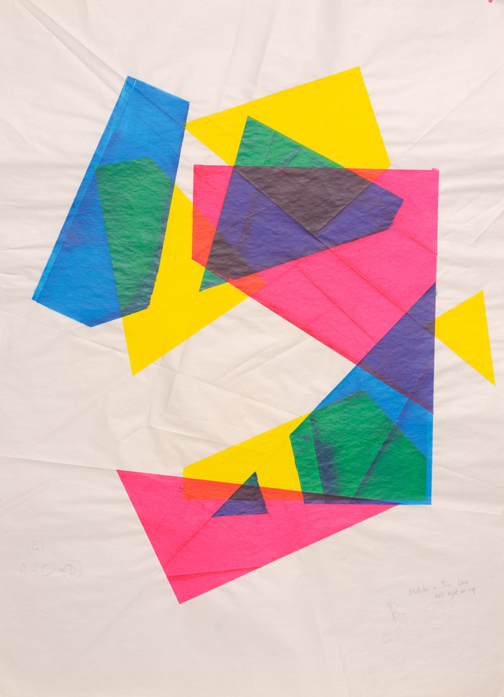 Deconstruction Fold. Cyan, Yellow and Magenta.